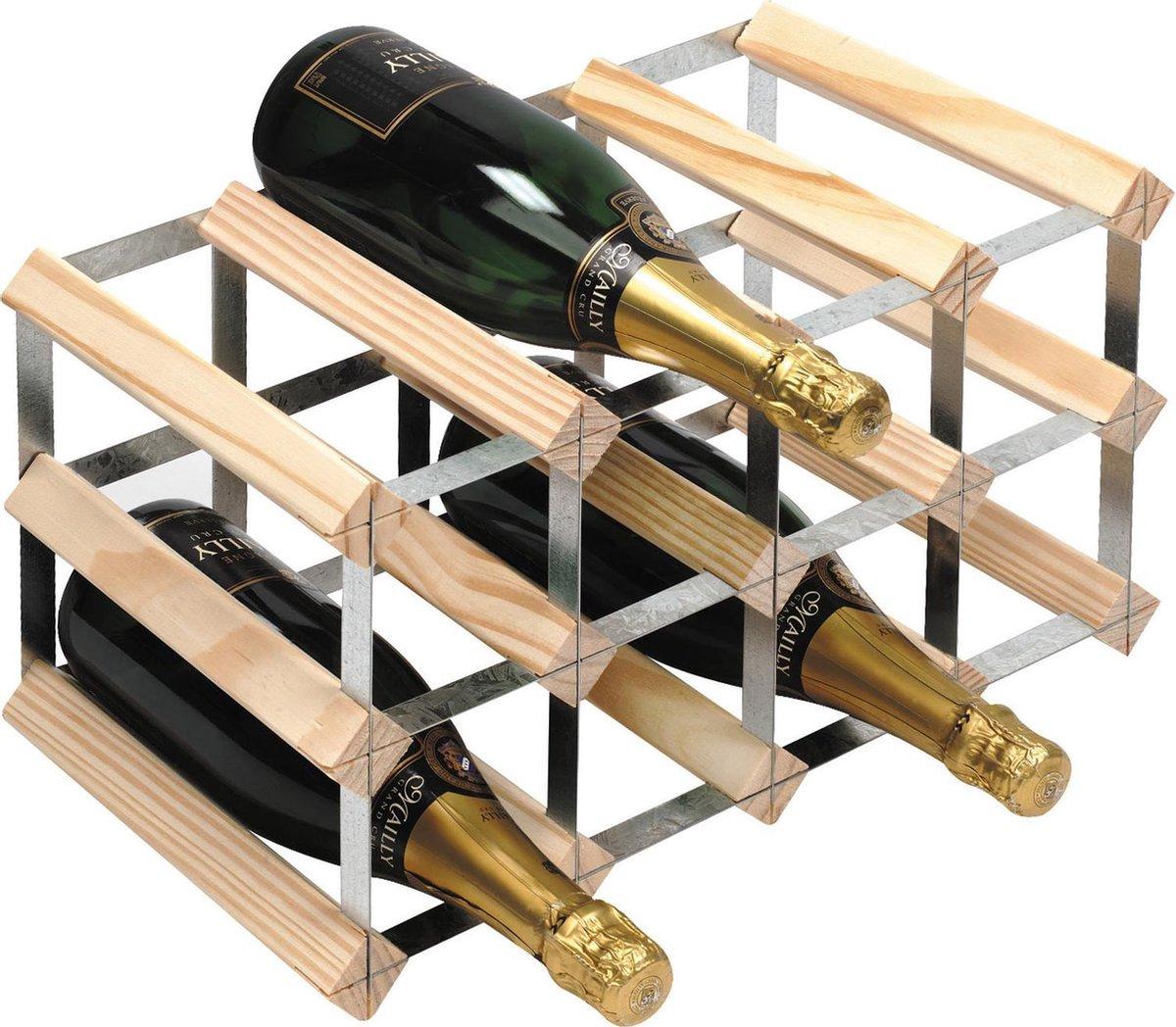 RTA Wineracks - Wijnrek 12 Flessen - Verzinkt Staal - Licht Grenen - 3x4