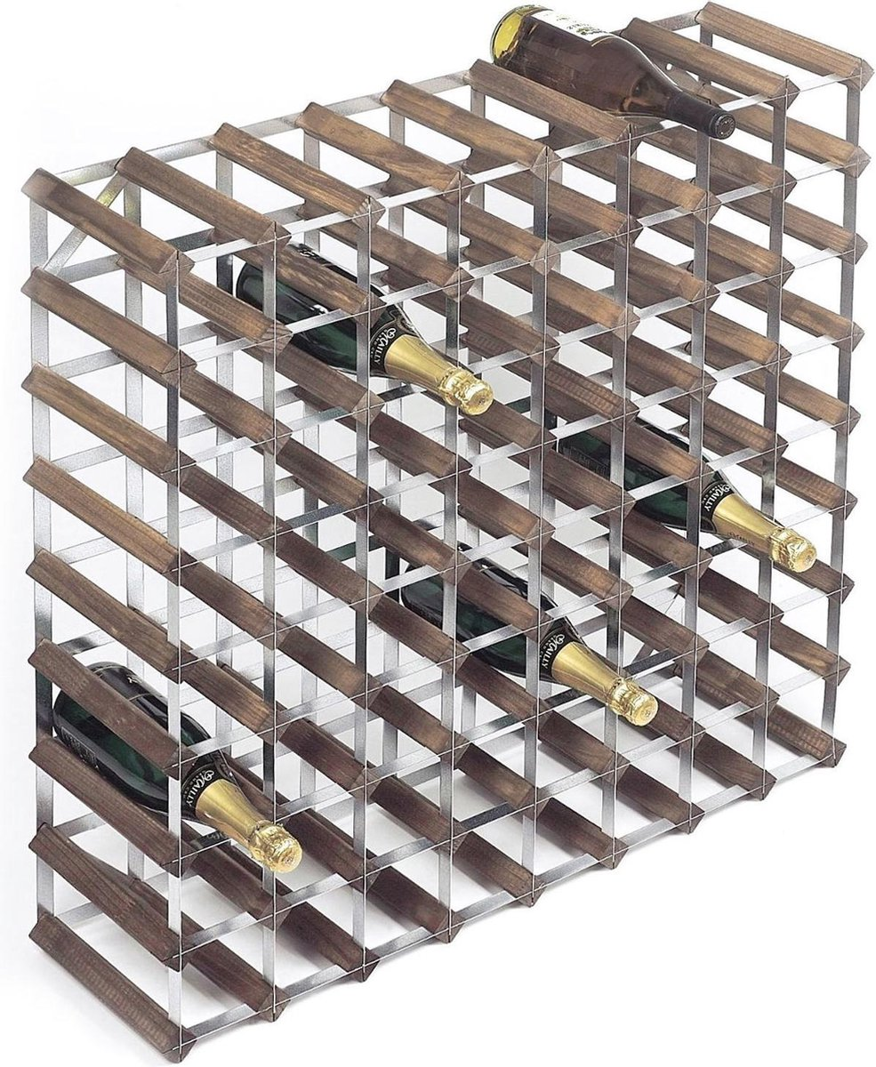 RTA Wineracks - Wijnrek 72 Flessen - Verzinkt Staal - Donker Eiken - 72 Flessen 9x8 - Zelfbouwkit