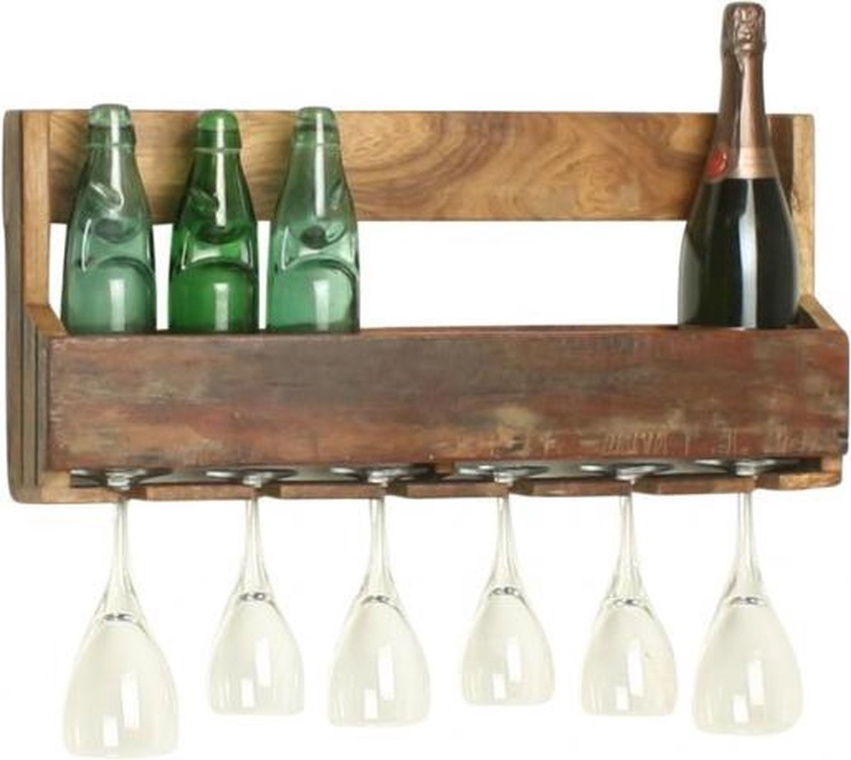 Raw Materials Factory Wijnrek - 60 x 12 x 28 cm - Hangend - Gerecycled hout - 5 flessen, 6 glazen