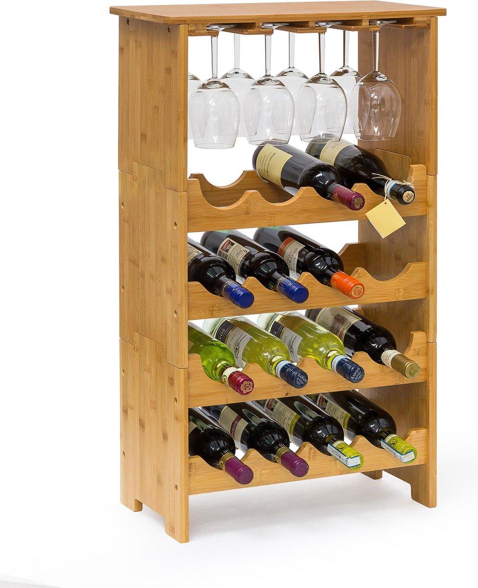 Relaxdays Wijnrek - 84 x 50 x 24 cm - Bamboe - Stapelbaar - 16 flessen + 12 glazen
