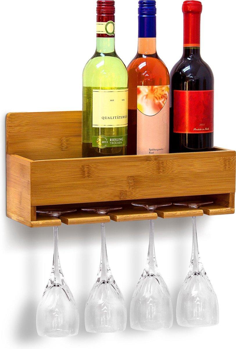 Relaxdays Wijnrek Wijnglashouder - 17 x 37 x 11,5 - Bamboe - Muur-/wandmontage - 4 flessen + 4 glazen