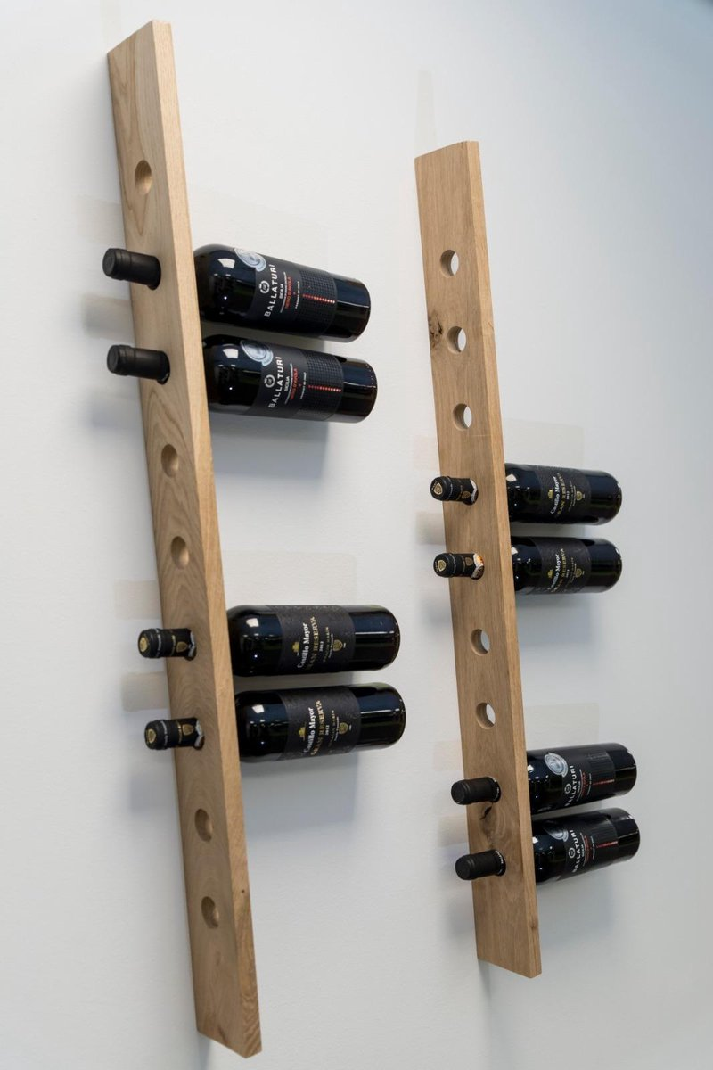Rustiek Eikenhouten Wijnrek - 9 Wijnflessen - Wandmontage - 88 CM - Hout - Wijnfleshouder - Muur
