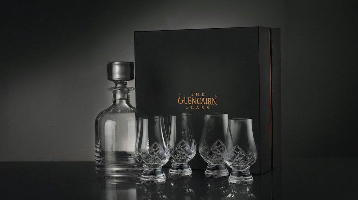 Schitterende Glencairn Whiskyset | Decanter /Karaf Iona en 4x Whiskyglas | Serie Glencairn Cut | Kristal | Handgemaakt in Schotland |Geschenkverpakking