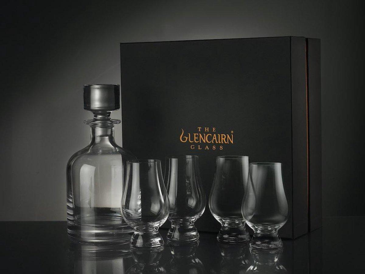 Schitterende Glencairn Whiskyset | Decanter /Karaf en 4x Whiskyglas | Kristal | Handgemaakt in Schotland | Geschenkverpakking