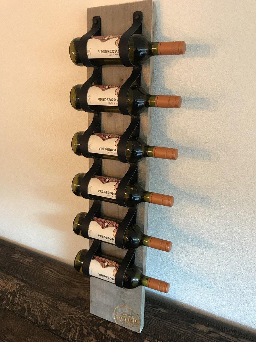Scotts Bluf Wijnrek - 100 cm hoog - Stijgerhout, leer - 6 flessen - Wandmontage of staand