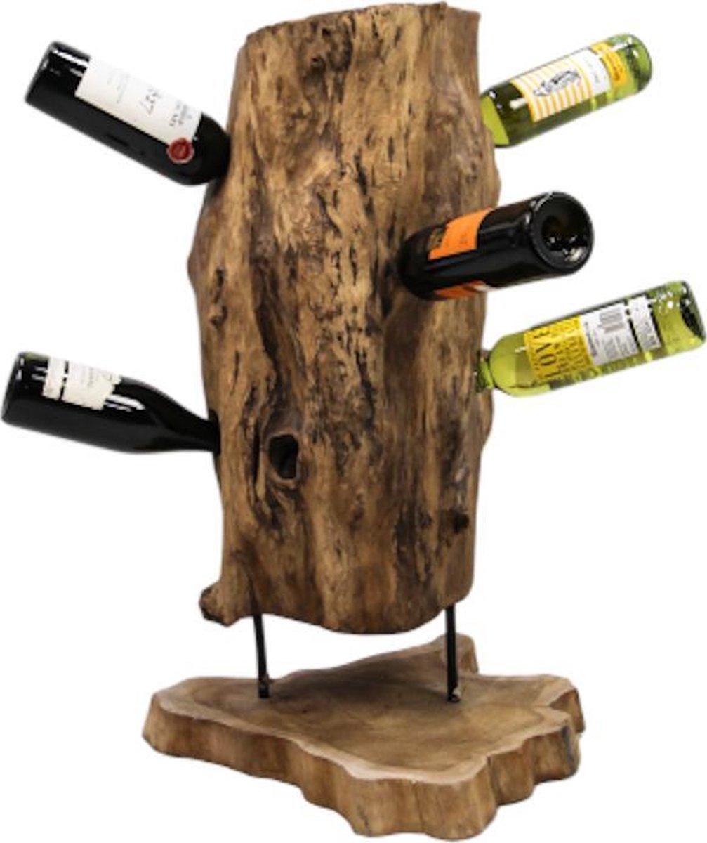 Stoere robuuste wijnrek uit boomstam 'Troy' Lumbuck - Landelijk, rustiek en industriële flessenhouder in boom