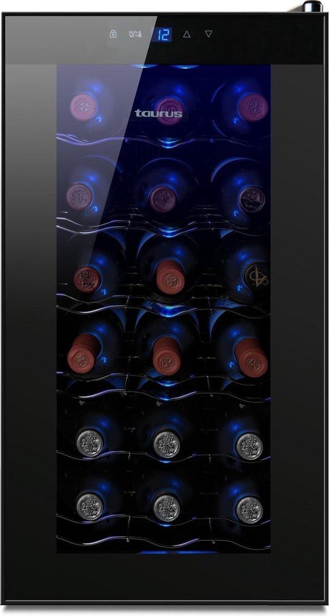 Taurus PTWC-18 Thermo-elektrische wijnkoeler Vrijstaand Zwart 18 fles(sen)