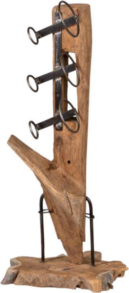 Teak houten wijnrek Clarke Teak Wijnrek - Houten flessenhouder - Bruin - Metaal
