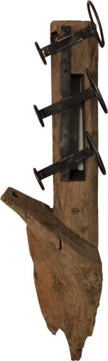 Teak houten wijnrek - Devin Teak Wijnrek - Houten flessenhouder - Bruin - Metaal