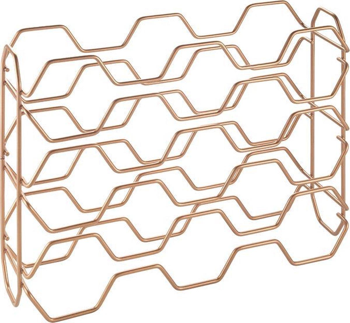 Tomado - Metaltex - Wijnrek Hexagon - Koper - 15 flessen