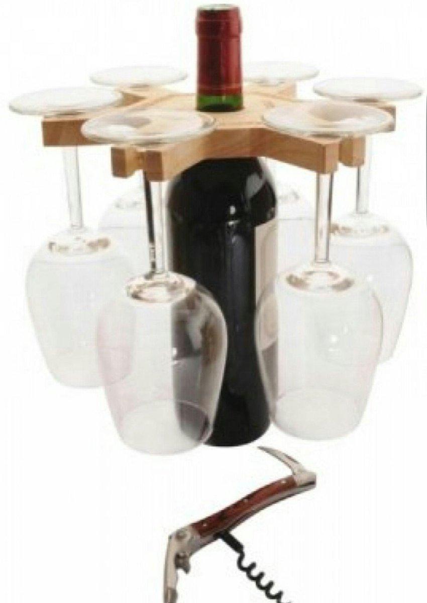 Wijnglas en fleshouder- houten bord inclusief kurkentrekker en 6 wijnglazen