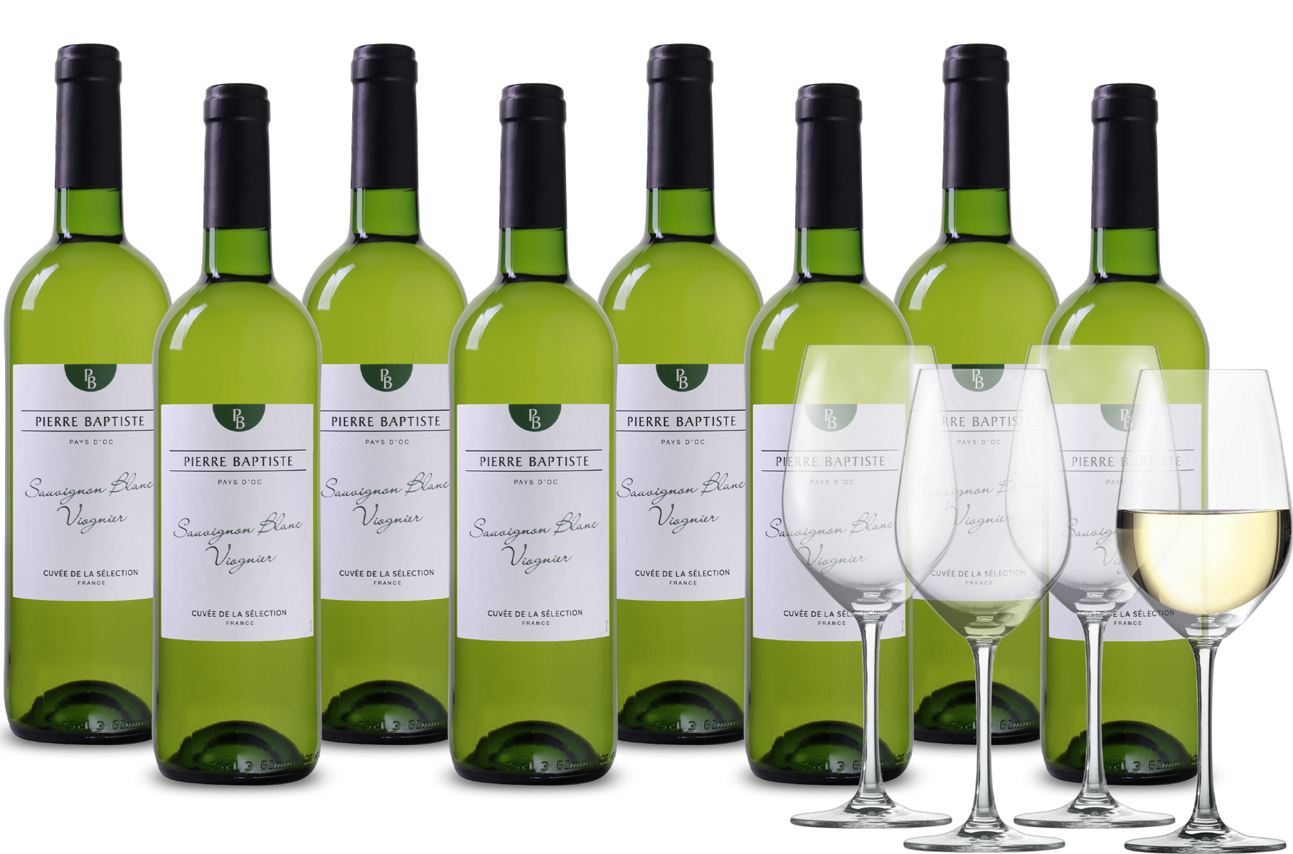Wijnpakket Pierre Baptiste Sauvignon Viognier 8 flessen + 4 glazen