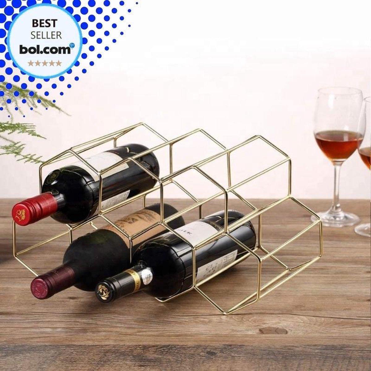 Wijnrek Hexagon 9 Flessen   Flessenrek   Wijn Accessoires   Wijnkast   Wijnrek Metaal   Wijnrekken   Wijnfleshouder   Wijnhouder   Goud