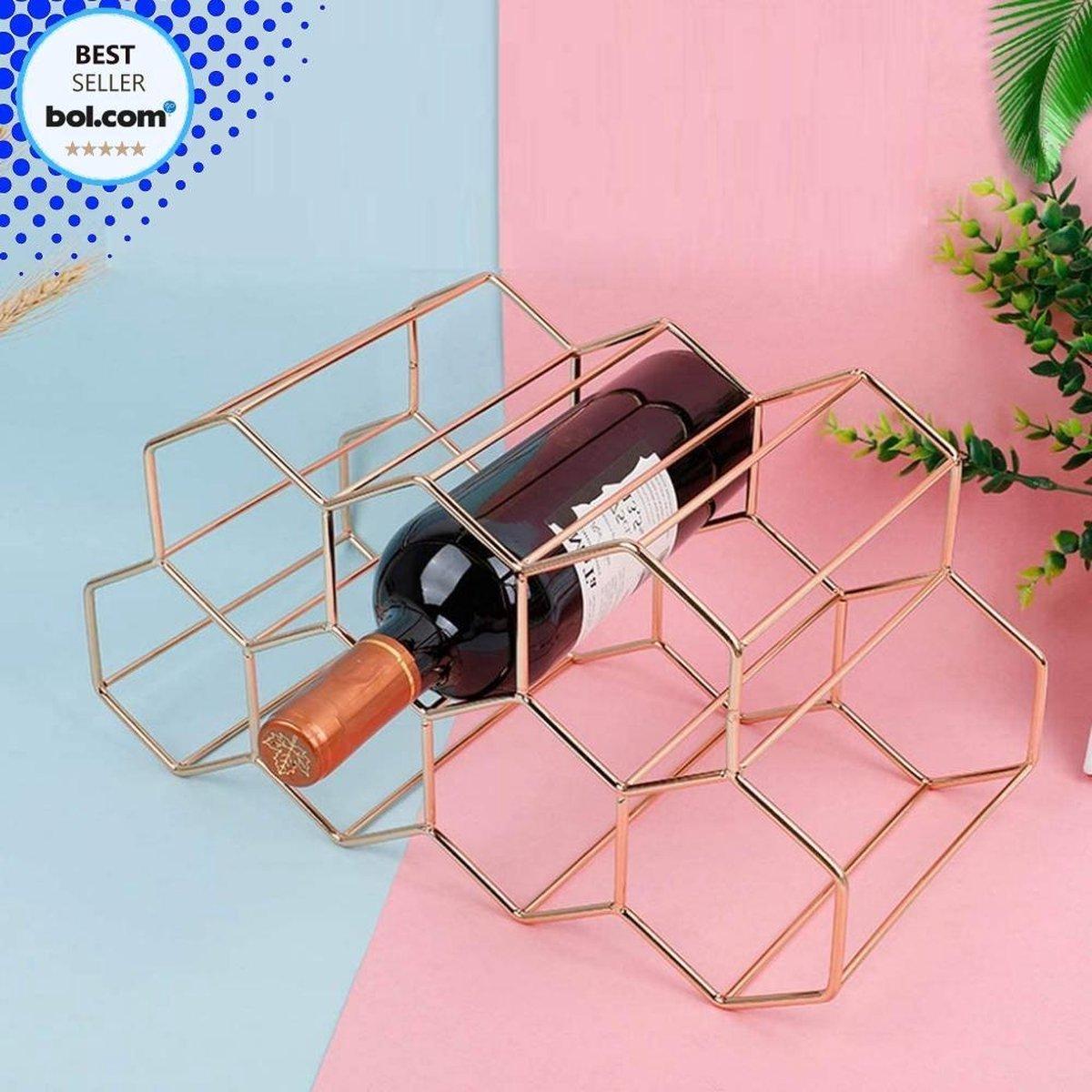Wijnrek Hexagon 9 Flessen | Flessenrek | Wijn Accessoires | Wijnkast | Wijnrek Metaal | Wijnrekken | Wijnfleshouder | Wijnhouder | Rosé Goud