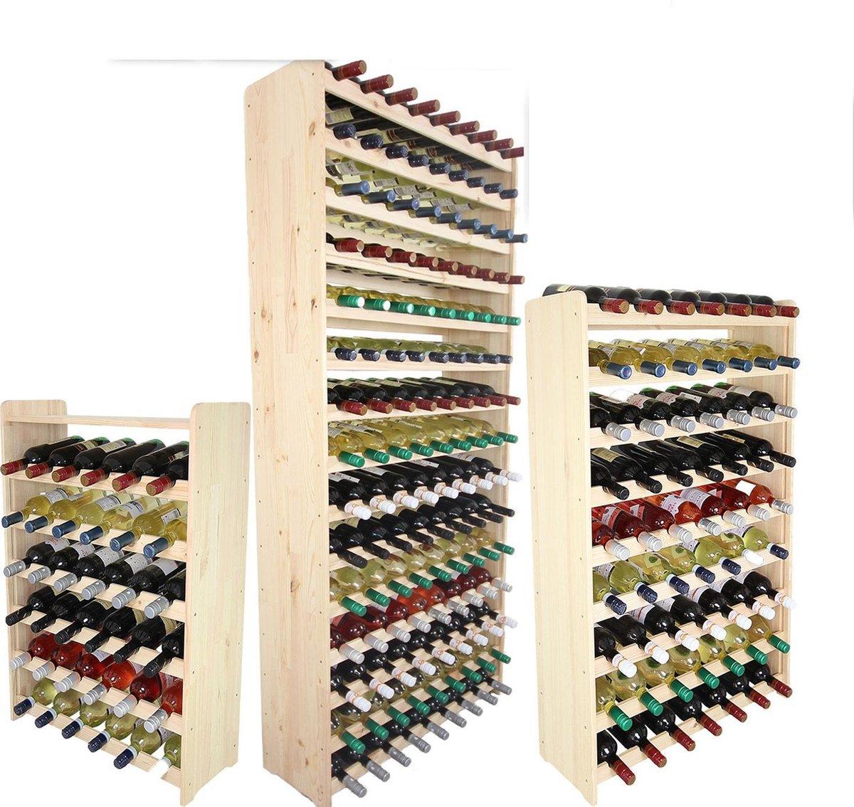 Wijnrek -Hout wijnrek - 38x42x26,5 cm (LxBxD) - Massief Hout - 12 flessen - Flessenrek Modulair en Stapelbaar - Flessenhouder Staand