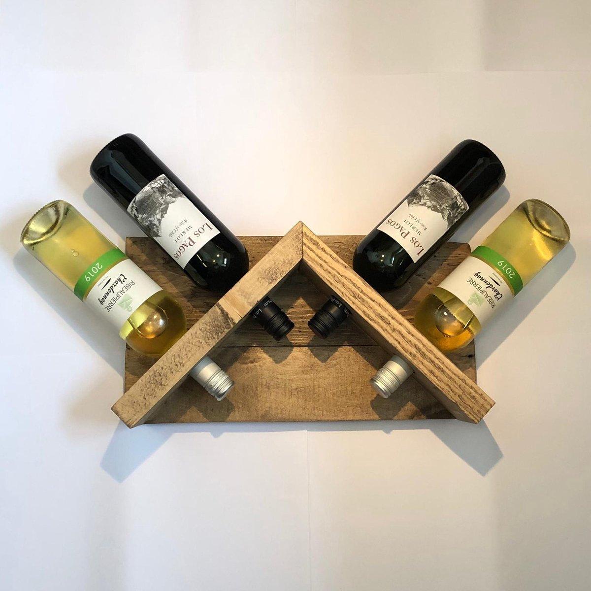 Wijnrek 'Rooftop'   Handgemaakt van gerecycled hout   Landelijk wijnrek