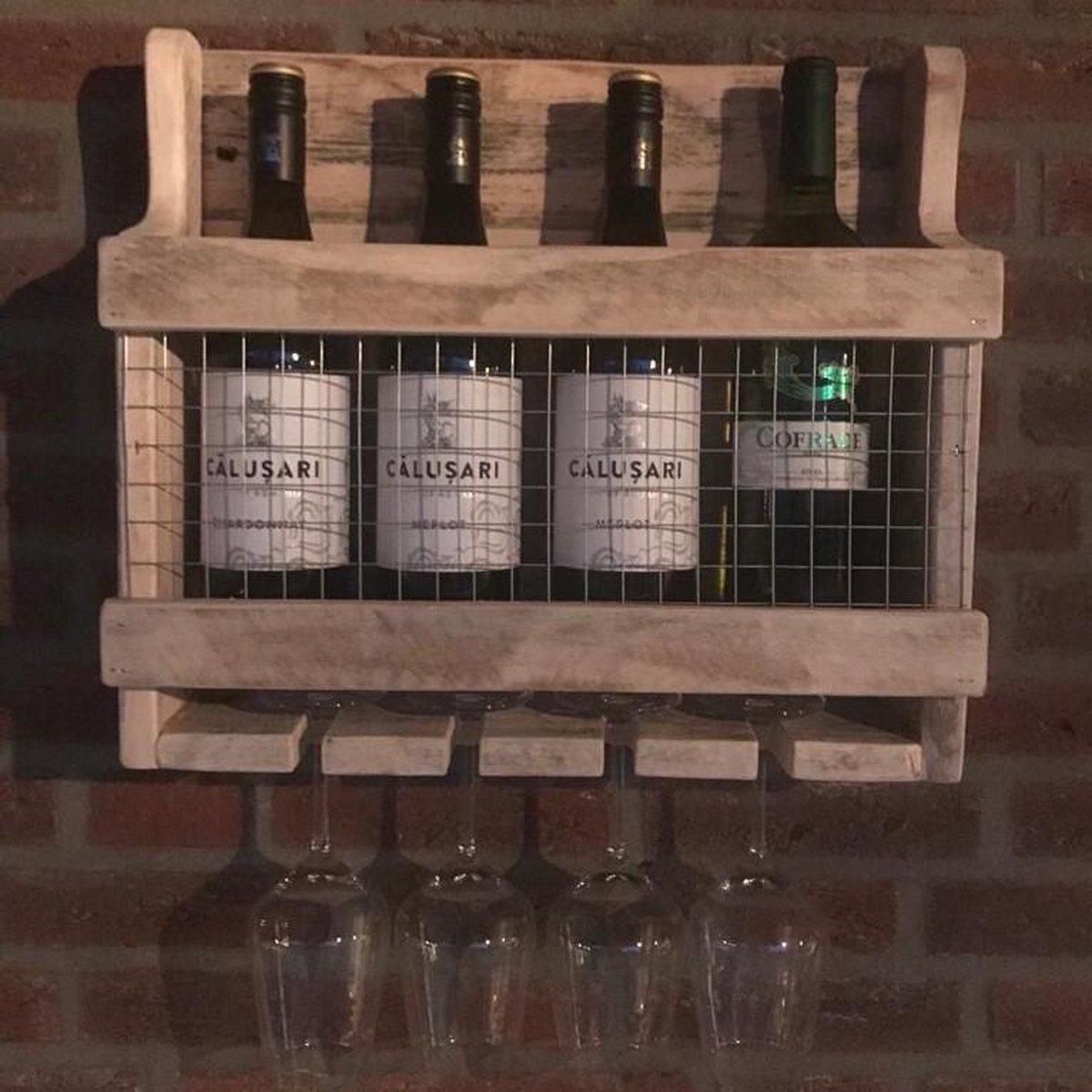 Wijnrek 'Utah' | Landelijk wijnrek gemaakt van gerecycled pallethout | 4 wijnflessen | Duurzaam wijnrek handgemaakt!