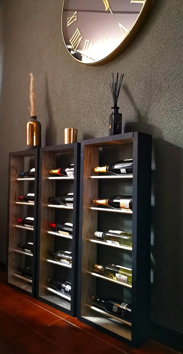 Wijnrek - Zilver/Zwart - 100 x 40,5 x 12 cm - Wijnrek4U Onyx