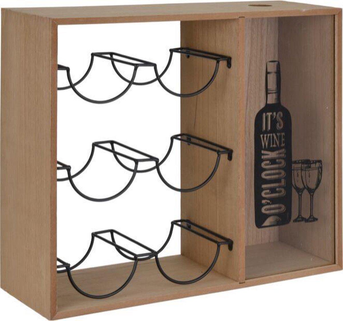 Wijnrek hout - Zwart - Metaal - Hout - 6 flessen - Flessenrek - Wijnhouder