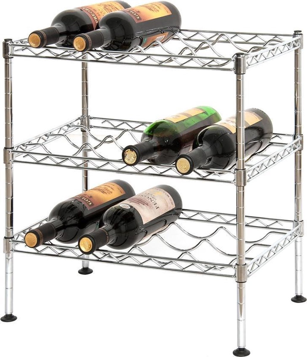 Wijnrek metaal 3 verstelbare etages