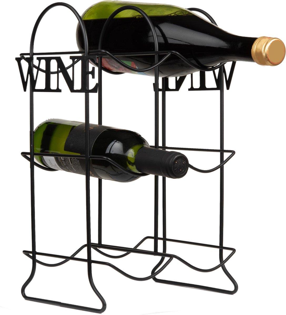 Wijnrek metaal voor 6 flessen - Zwart