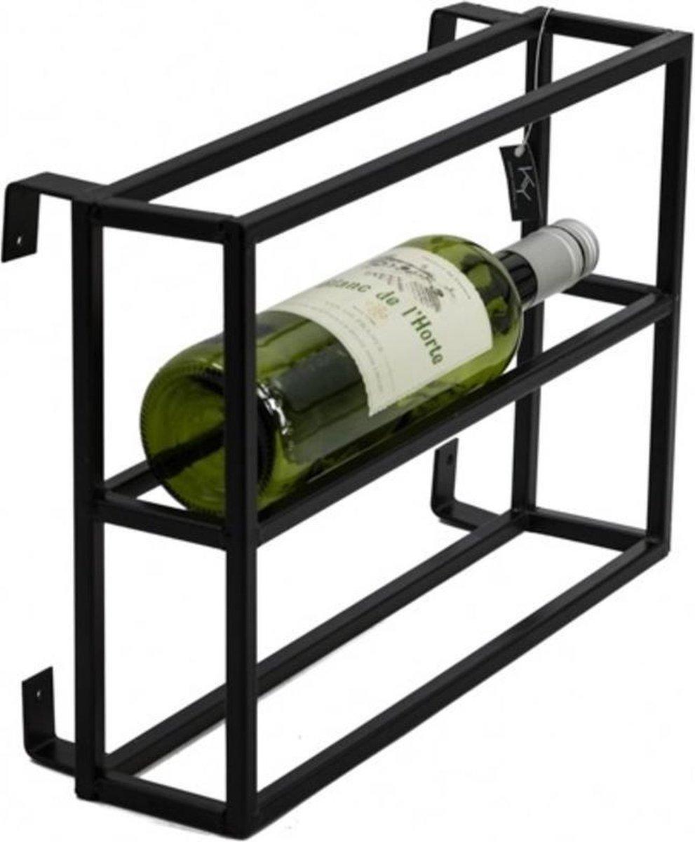 Wijnrek van Metaal - Wandrek - Wijnkelder - Wijnrek - Restaurant - Wijn Rek - Wijnflessen Rek - Wijnfles Rek - Metaal - Industrieel - Zwart - 36 cm breed