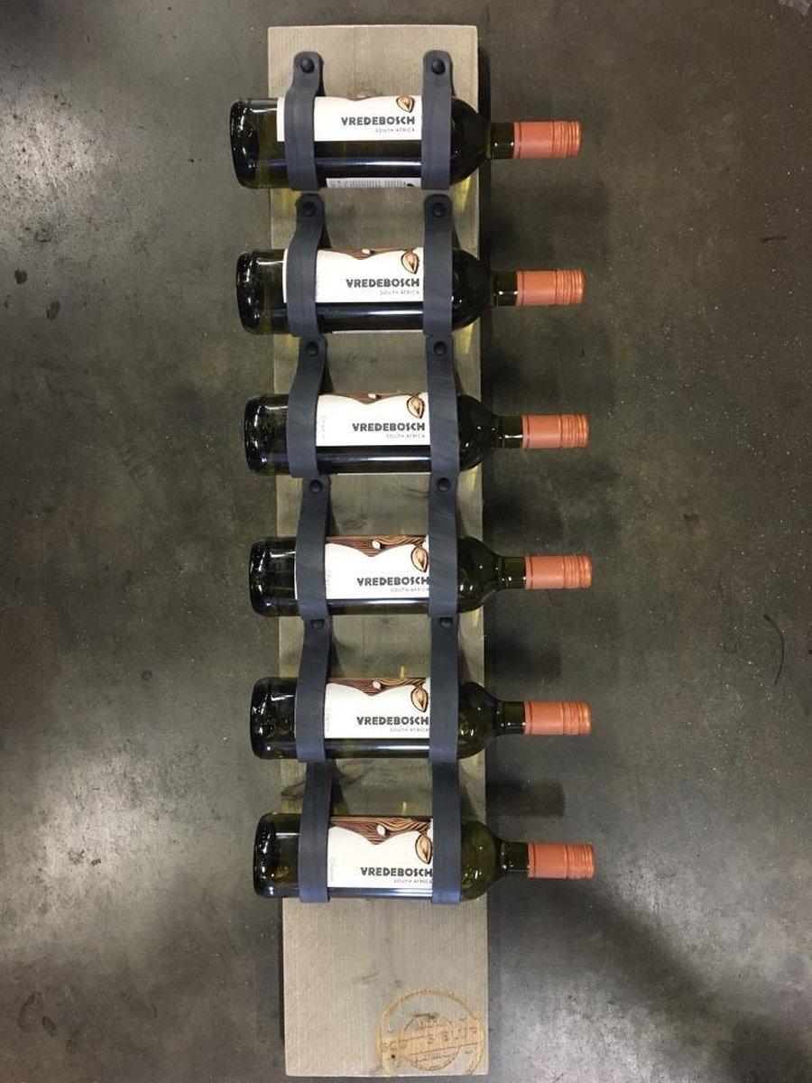 Wijnrek van hout en antraciet leer - 1mtr hoog en plaats voor 6 wijnflessen - Wijnrek van steigerhout en grijs leer. Op te hangen of staand te plaatsen