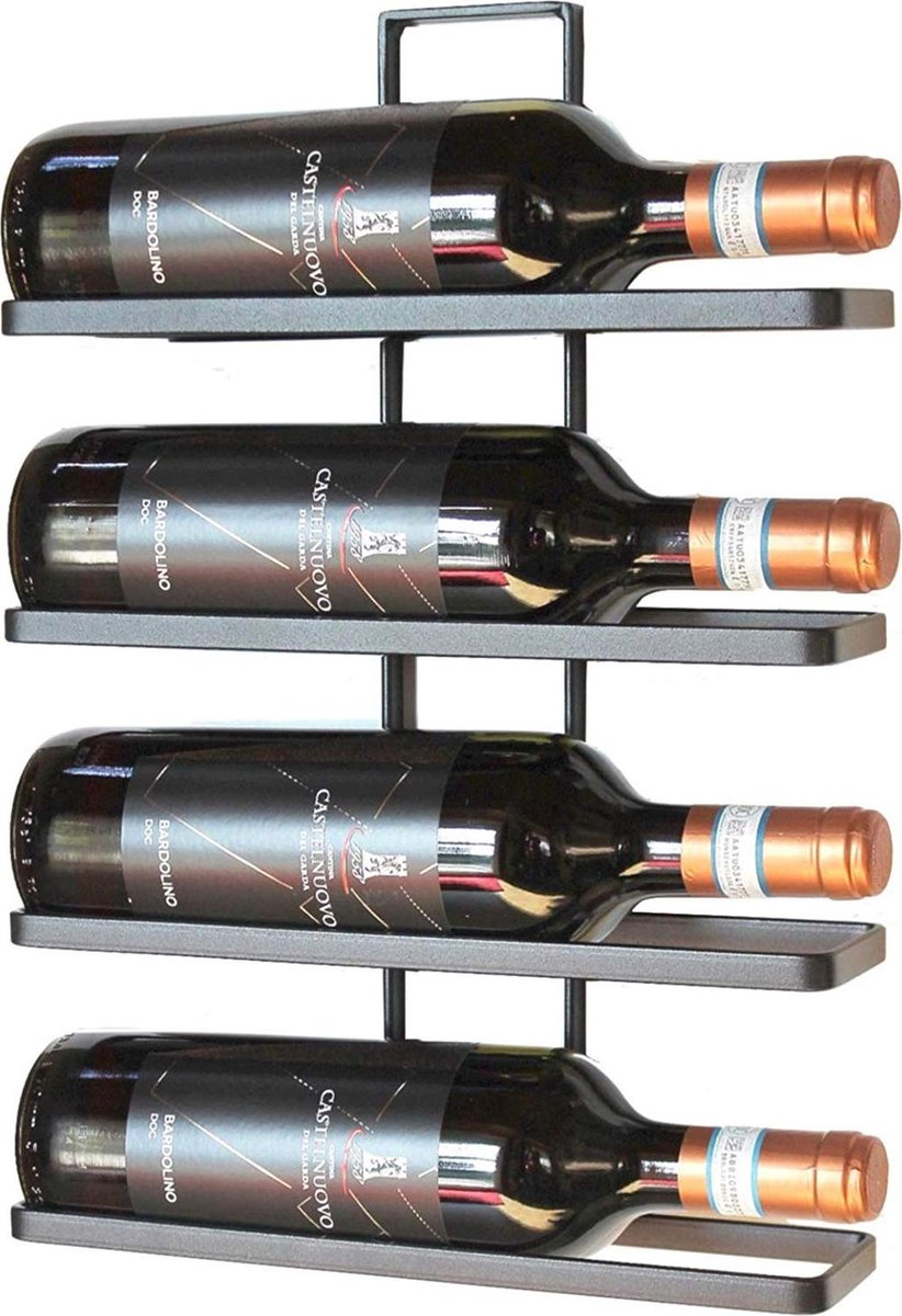 Wijnrek van metaal voor 4 flessen zwart   Wijnrek met wandmontage   Wijnrek met plaats voor 4 flessen á 1.5l   Hoogwaardig materiaal   Makkelijk te monteren