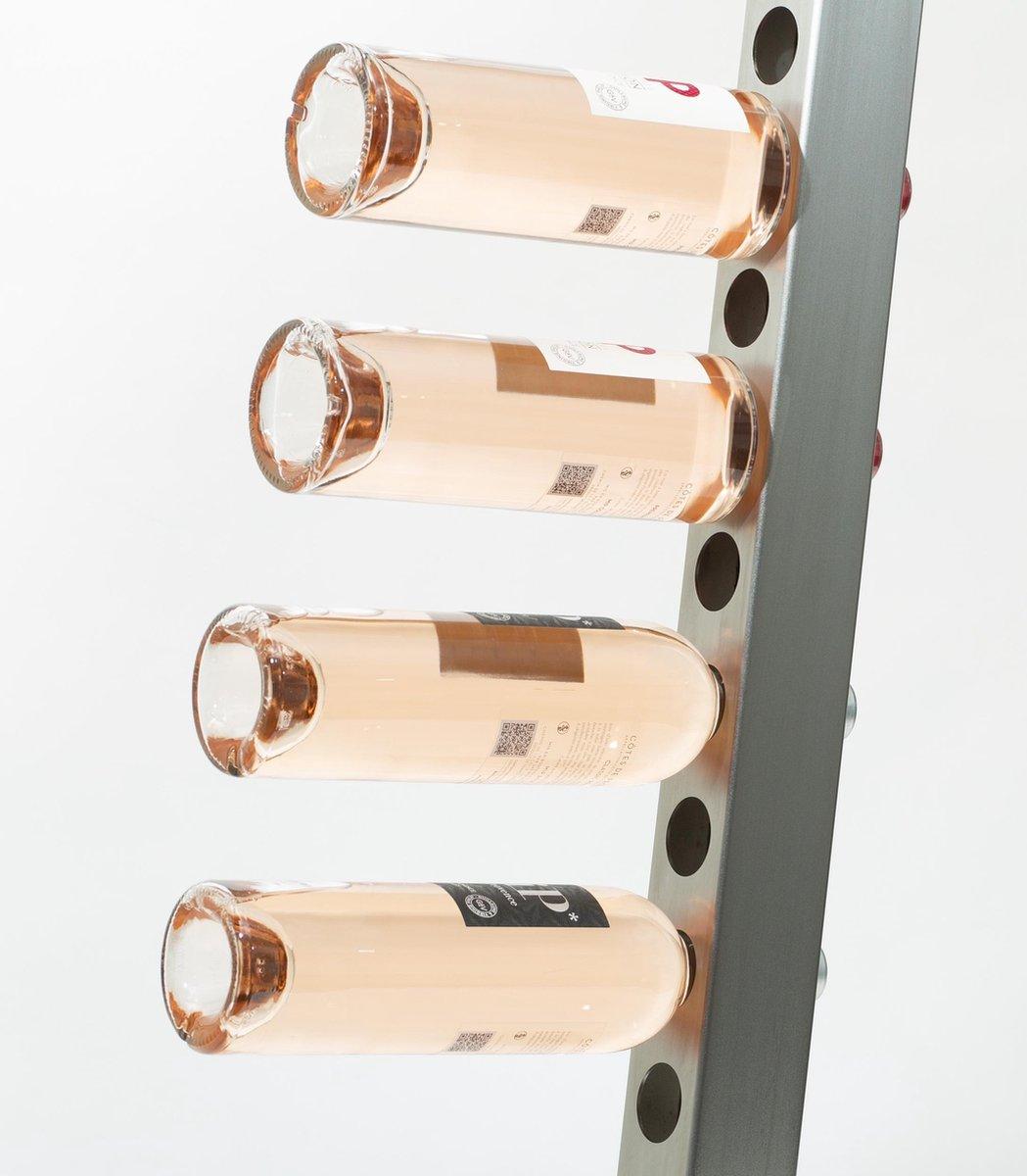 Wijnrek voor aan de muur - geschikt voor 20 flessen - RVS