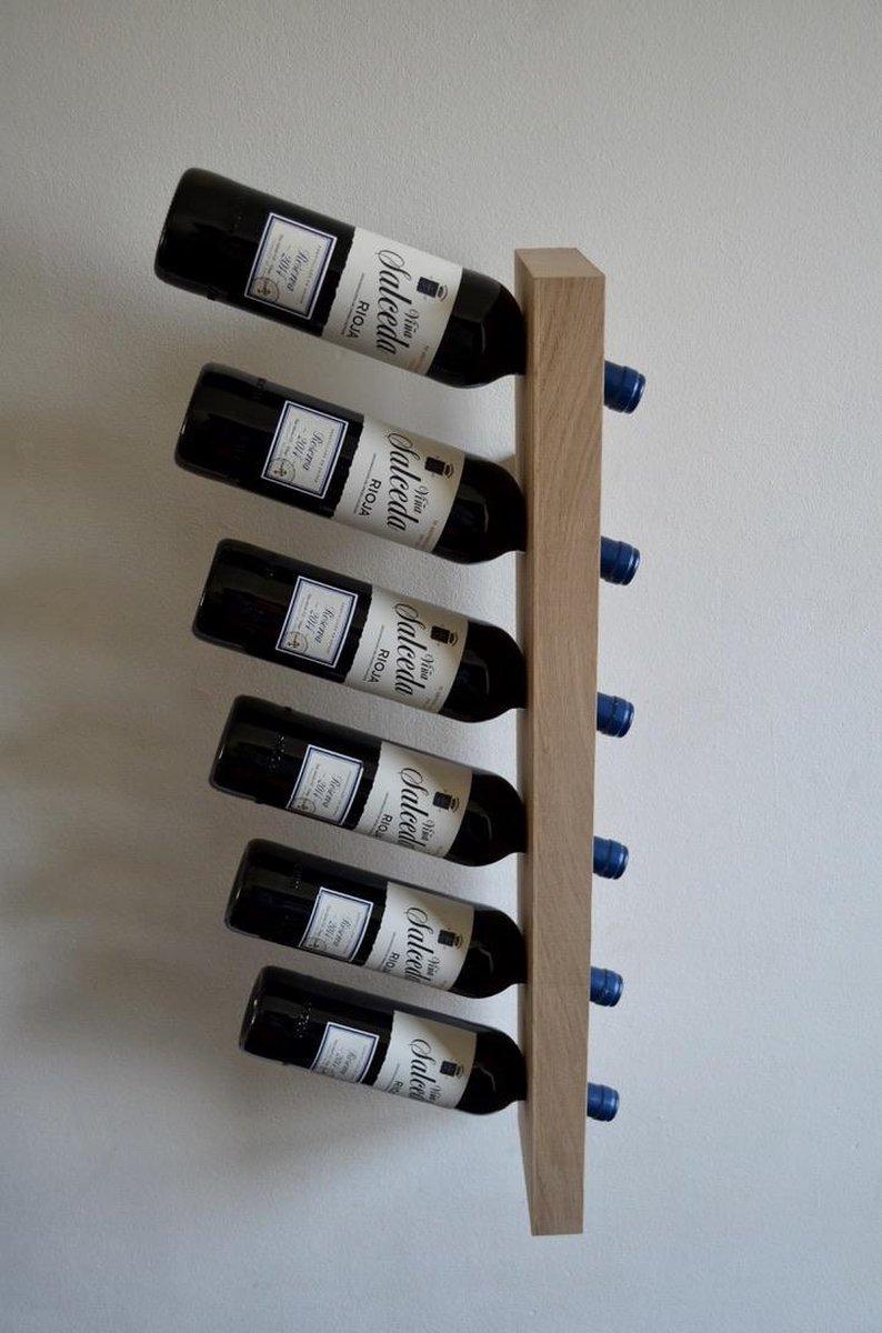 Wijnrek, wijnhouder dwars aan muur, Frans eikenhout voor 6 flessen