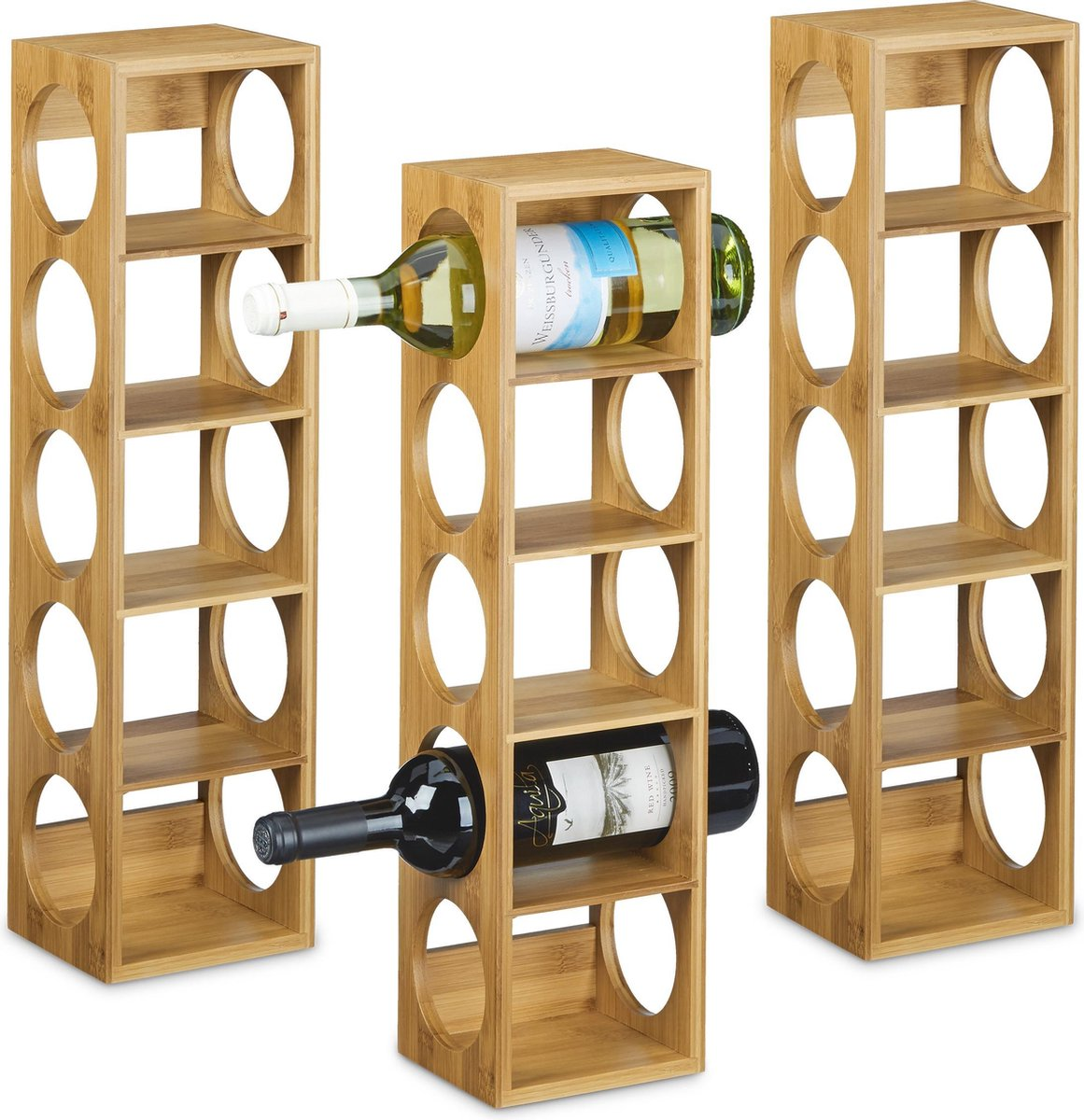 relaxdays 3 x wijnrek bamboe - wijnkast - flessenrek - wijn rek schap