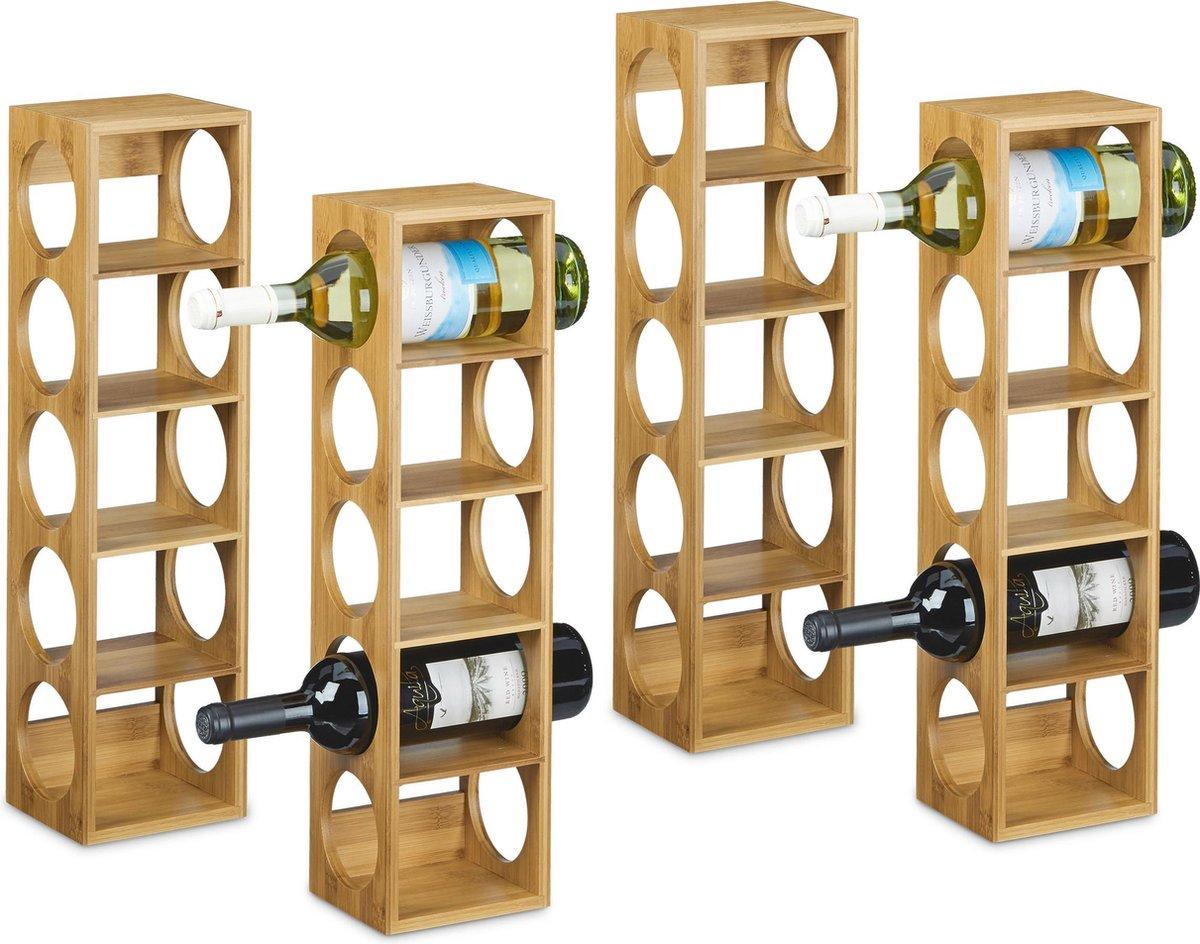 relaxdays 4 x wijnrek bamboe - wijnkast - flessenrek - wijn rek schap