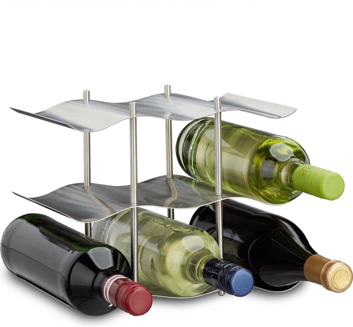 relaxdays - wijnrek rvs voor 9 flessen wijn - flessenrek - industrieel - modern
