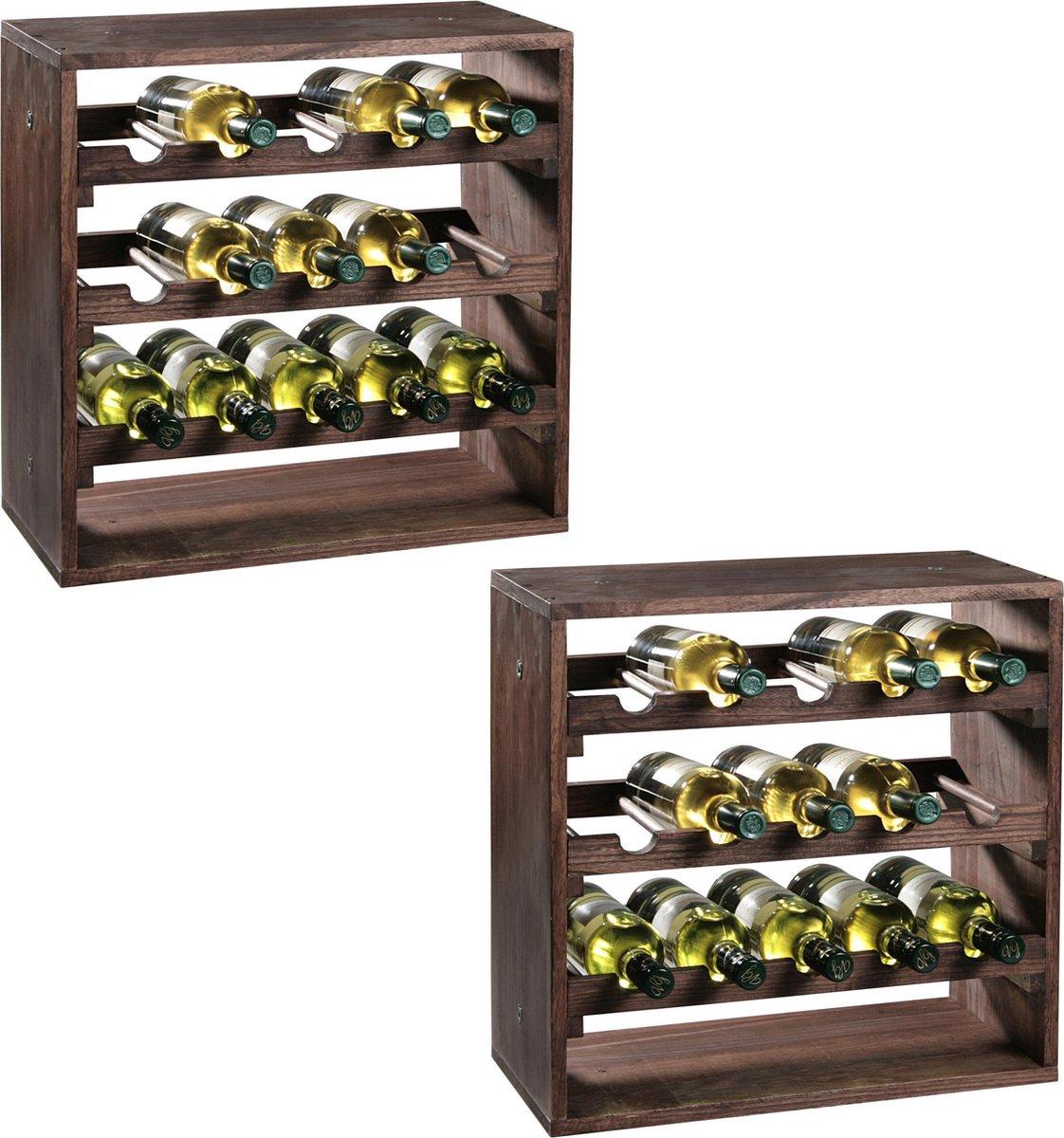 2x Houten wijnflessen rekken/wijnrekken vierkant voor 30 flessen 25 x 50 x 50 cm - Woonaccessoires/decoratie - Wijnflesrek/wijnrek