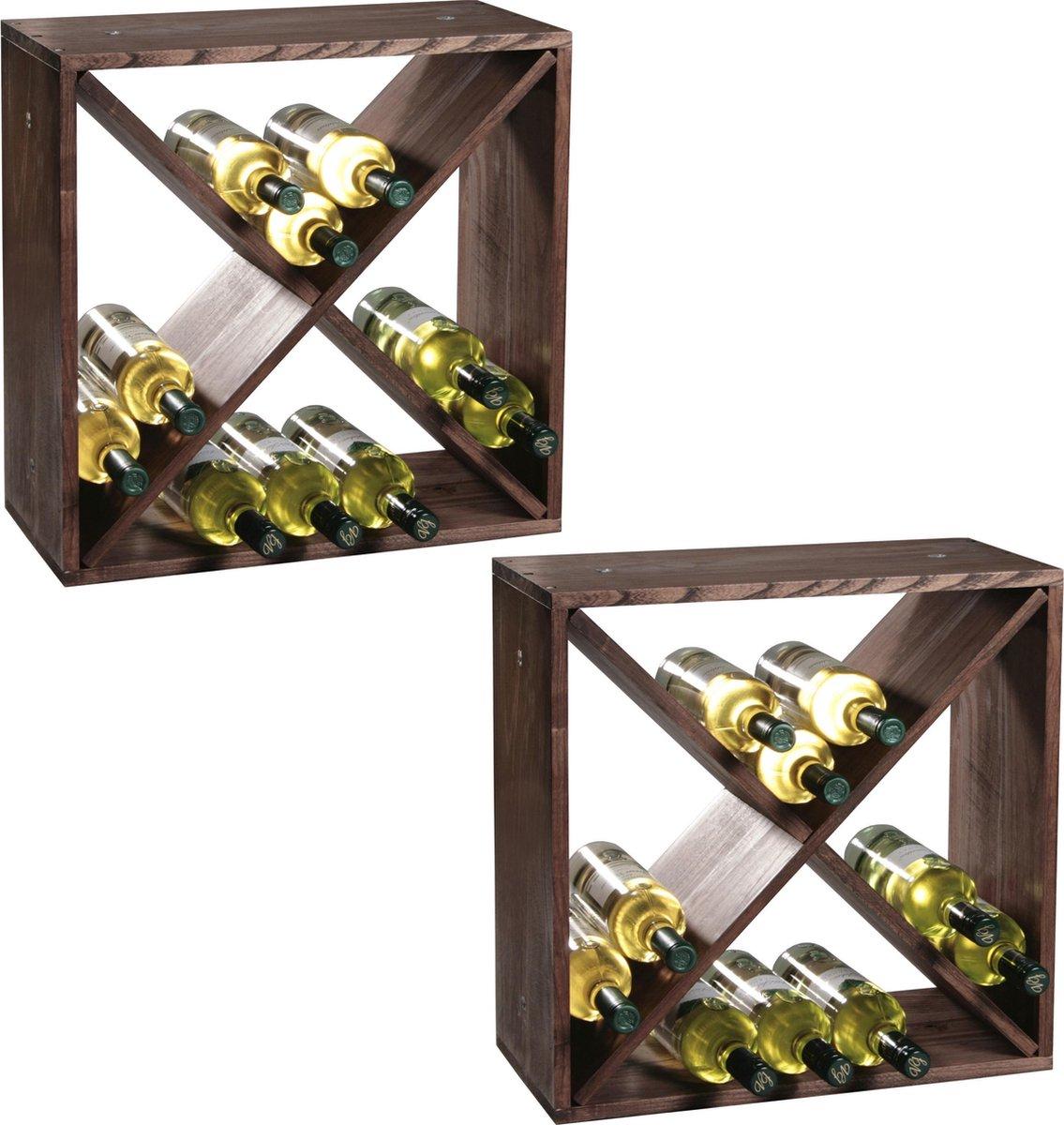 2x Houten wijnflessen rekken/wijnrekken vierkant voor 48 flessen 25 x 50 x 50 cm - Woonaccessoires/decoratie - Wijnflesrek/wijnrek
