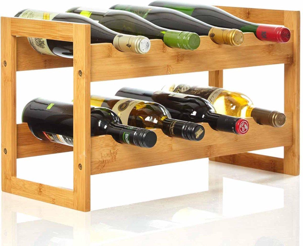 Bambuswald© wijnrek gemaakt van 100% bamboe - Ecologisch & Duurzaam flessenrek - 2 etages en ruimte voor 8 flessen totaal