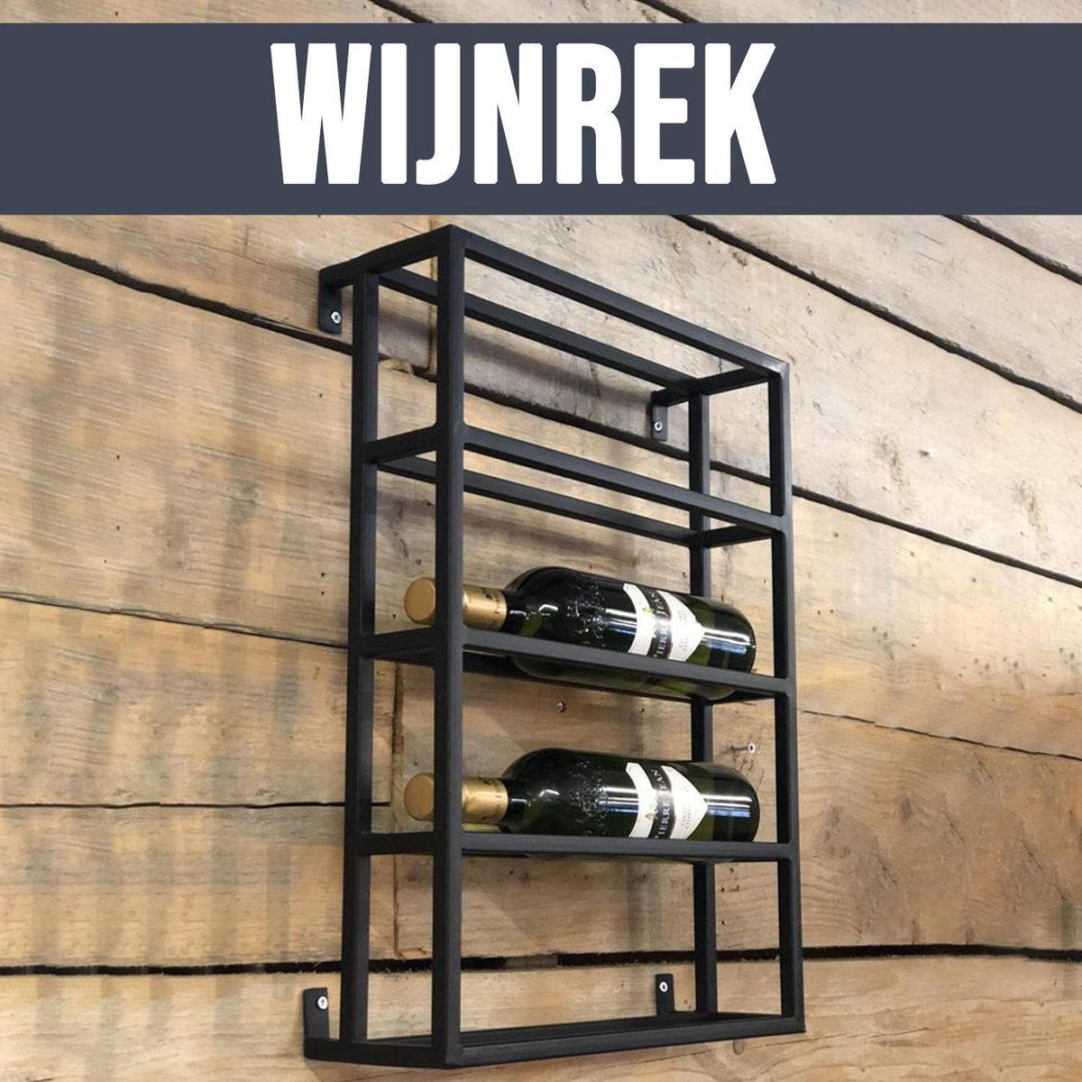 By Mooss Wijnrek - Wijnrek Metaal - Wijnrek hangend - Wijnrekken - 4 flessen - Flessenrek - Zwart