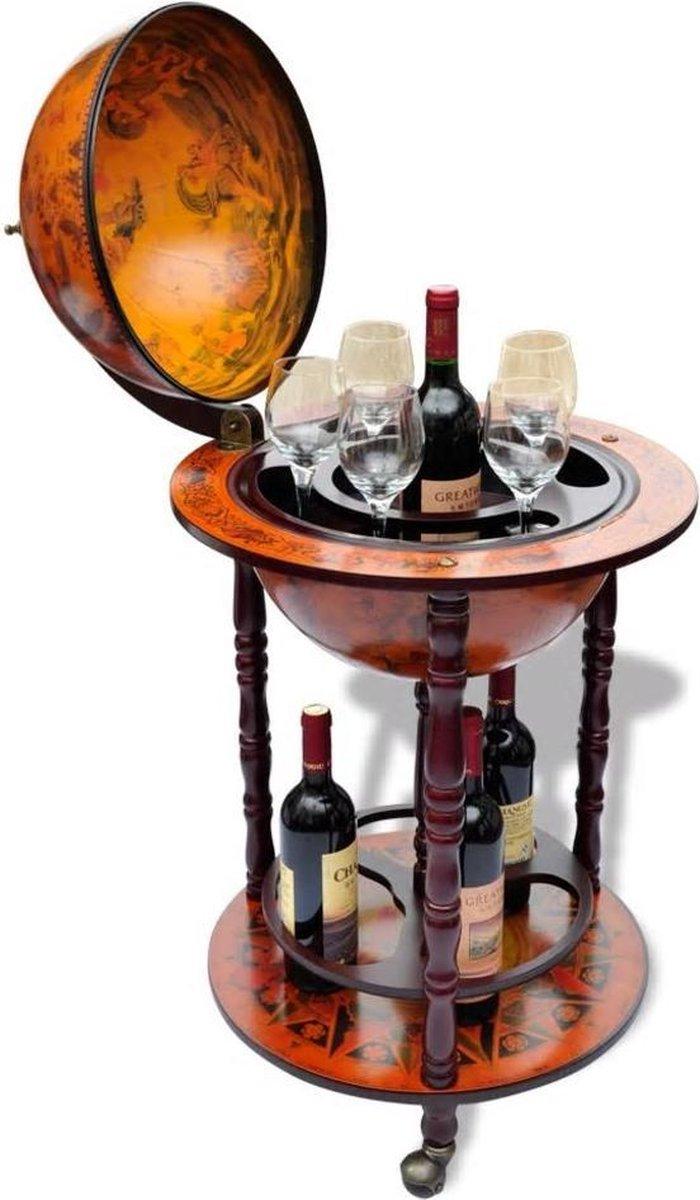 Drankbar wereldbol - barwagen - massief houten - bar op wielen - 16e eeuwse stijl - Italiaans design - hout - Wereldbol bar - wijnrek - tafel - mobiele bartafel - uniek - minibar - bruin