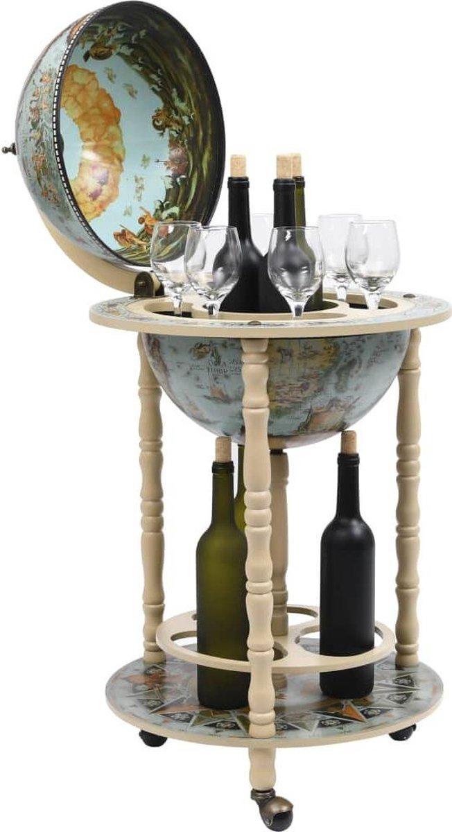 Drankbar wereldbol - barwagen - massief houten - bar op wielen - 16e eeuwse stijl - Italiaans design - hout - Wereldbol bar - wijnrek - tafel - mobiele bartafel - uniek - minibar - Blauw - Crème Kleur