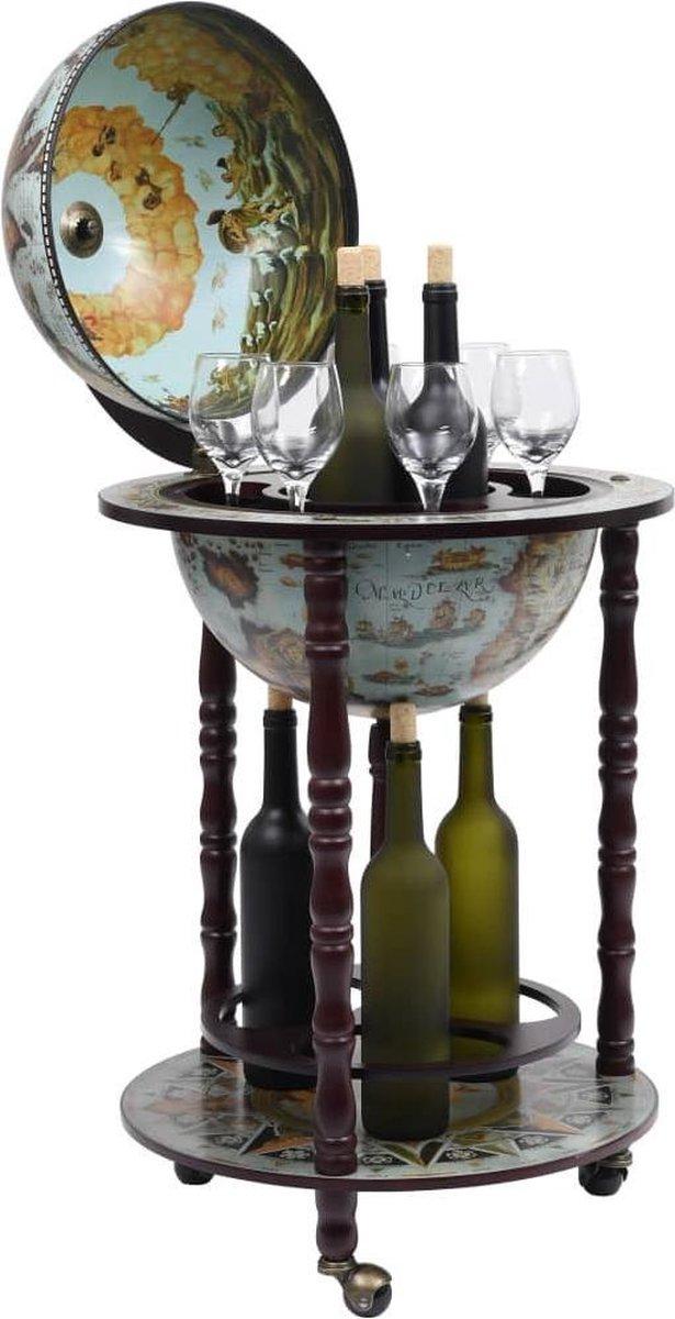 Drankbar wereldbol - barwagen - massief houten - bar op wielen - 16e eeuwse stijl - Italiaans design - hout - Wereldbol bar - wijnrek - tafel - mobiele bartafel - uniek - minibar - Donkerbruin - Zeeblauw