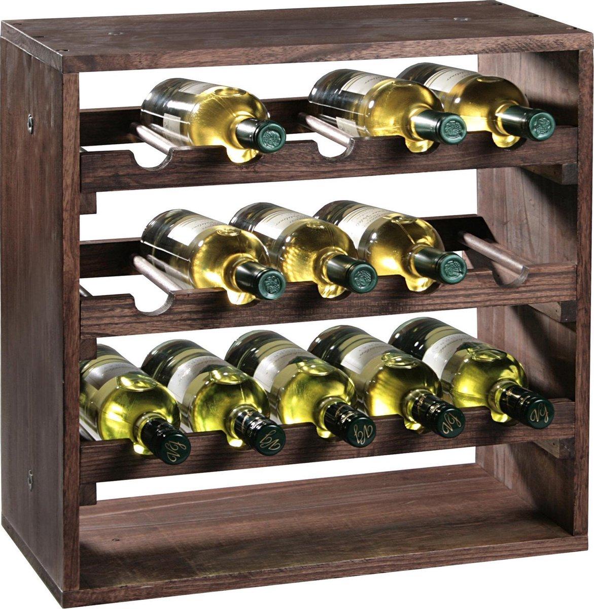 Houten wijnflessen rek/wijnrek vierkant voor 15 flessen 25 x 50 x 50 cm - Woonaccessoires/decoratie - Wijnflesrekken/wijnflessenrekken/wijnrekken - Rek/houder voor wijnflessen