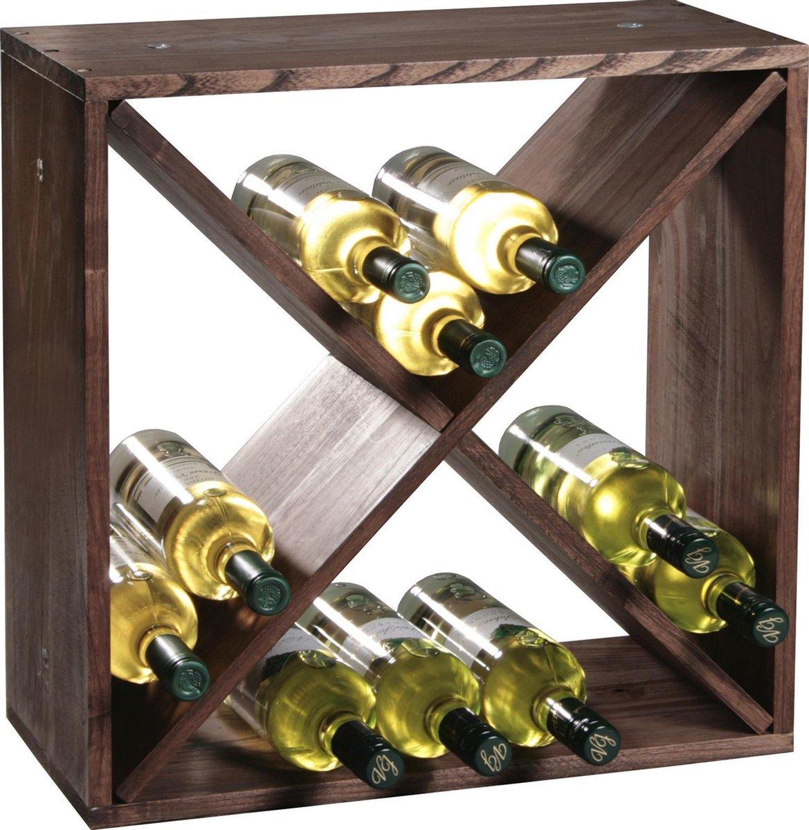 Houten wijnflessen rek/wijnrek vierkant voor 24 flessen 25 x 50 x 50 cm - Woonaccessoires/decoratie - Wijnflesrekken/wijnflessenrekken/wijnrekken - Rek/houder voor wijnflessen