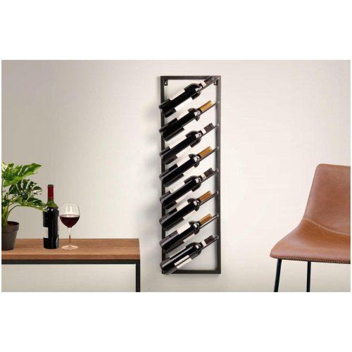 Modern Wijnrek - Zwart - Metaal - voor 12 flessen- Rechthoekig - 30 x 9,5 x 99,5 cm