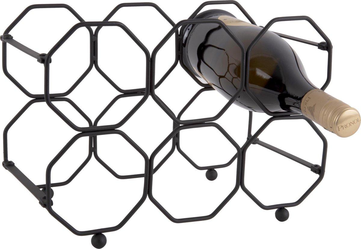 Pt, (Present Time) Honeycomb - Wijnrek - Ijzer - 16,5 x 31 x 22 cm - Zwart