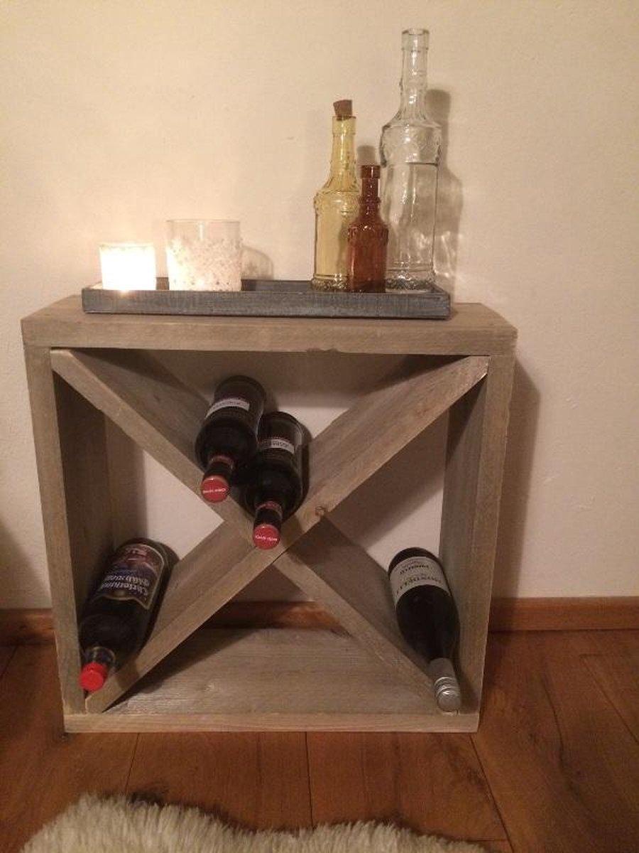 Steigerhoutdesign Wijnrek - 55 x 55 x 20 cm - 24 flessen - Steigerhout