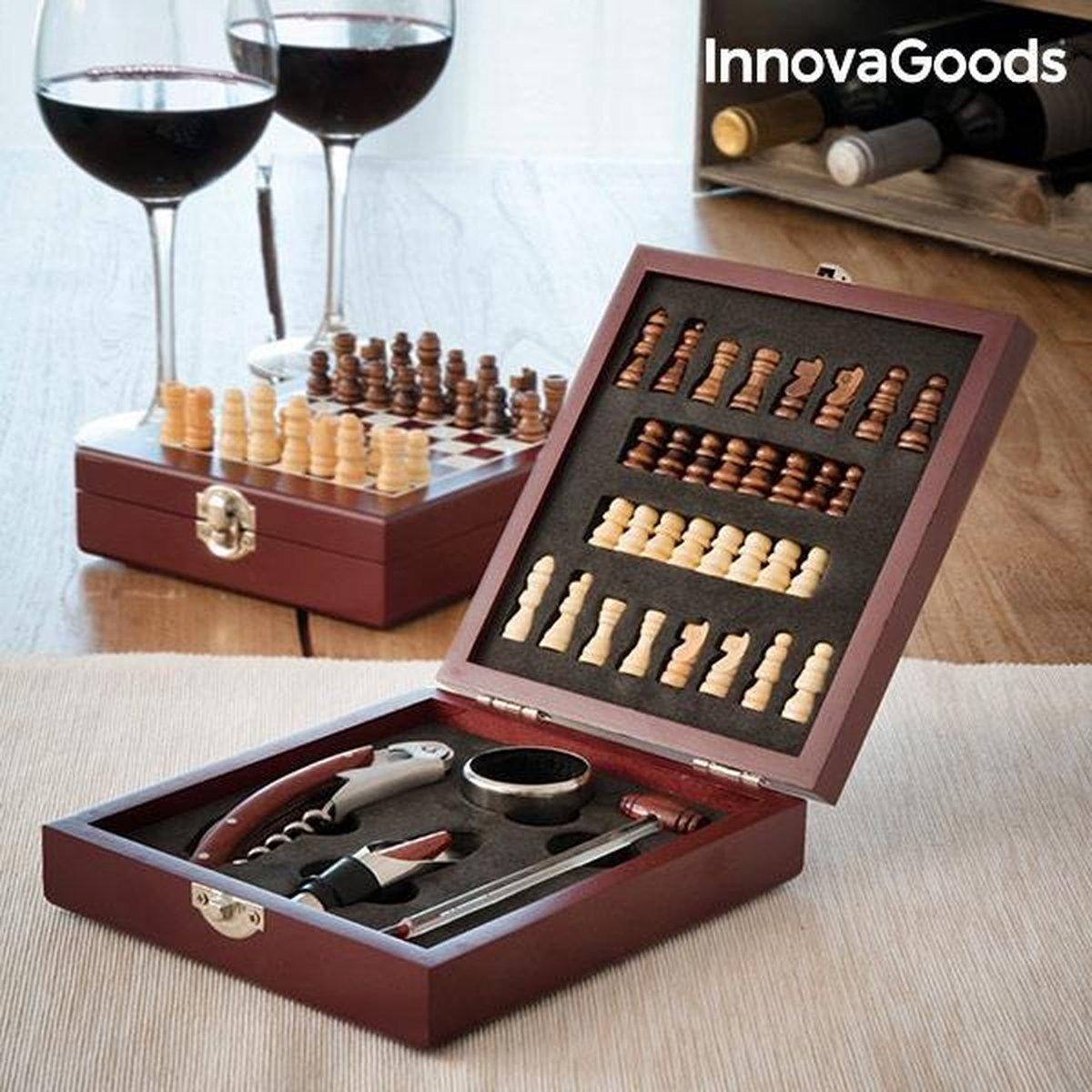 WIJN- EN SCHAAKSET (37 STUKS) en wijnfles sluiter - Kurkentrekker - Wijnopener - Flessenopener - Wijnaccessoires Set 9 in 1 - Wijntopper - Wijnpomp - Schaakbord - Schaken - Cadeautip
