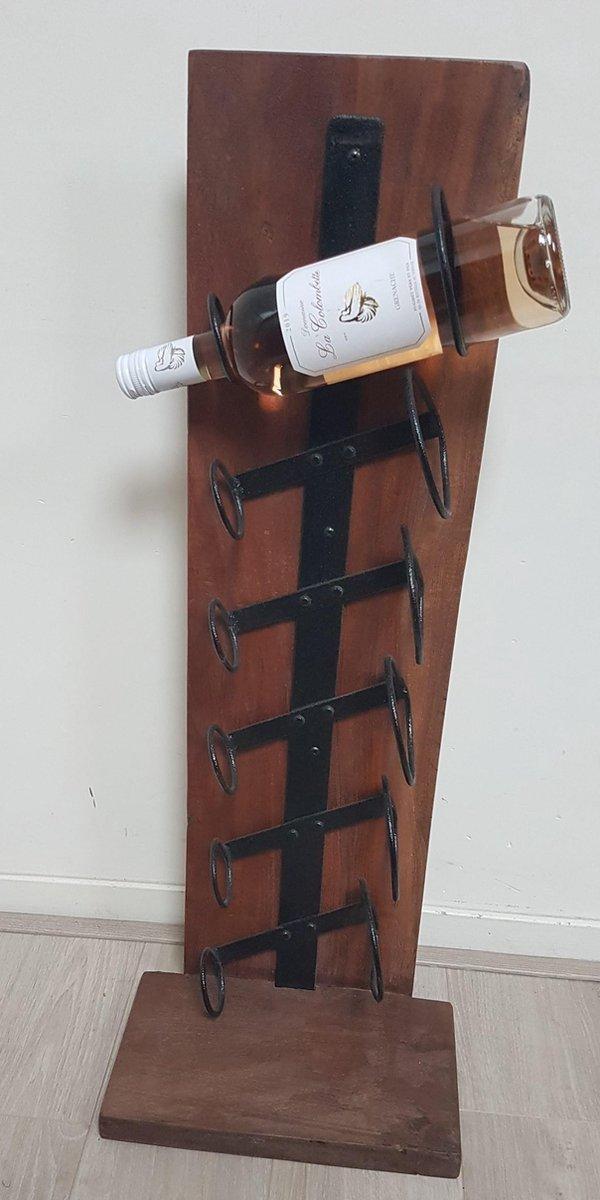 Wijn rek - wijnrek- standaard - industrieel - ijzer en hout