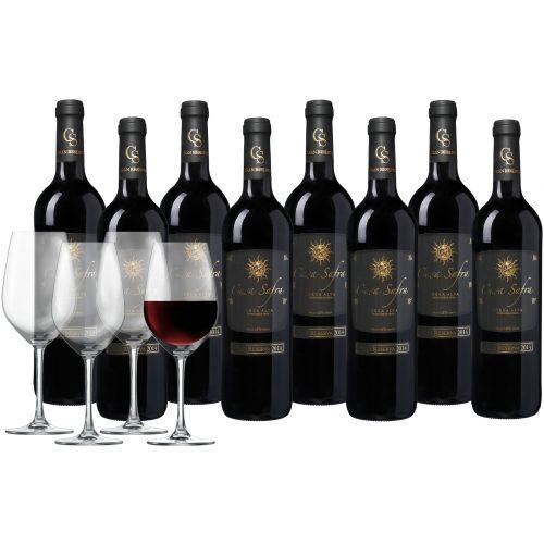Wijnpakket Casa Safra Terra Alta 8 flessen + 4 glazen
