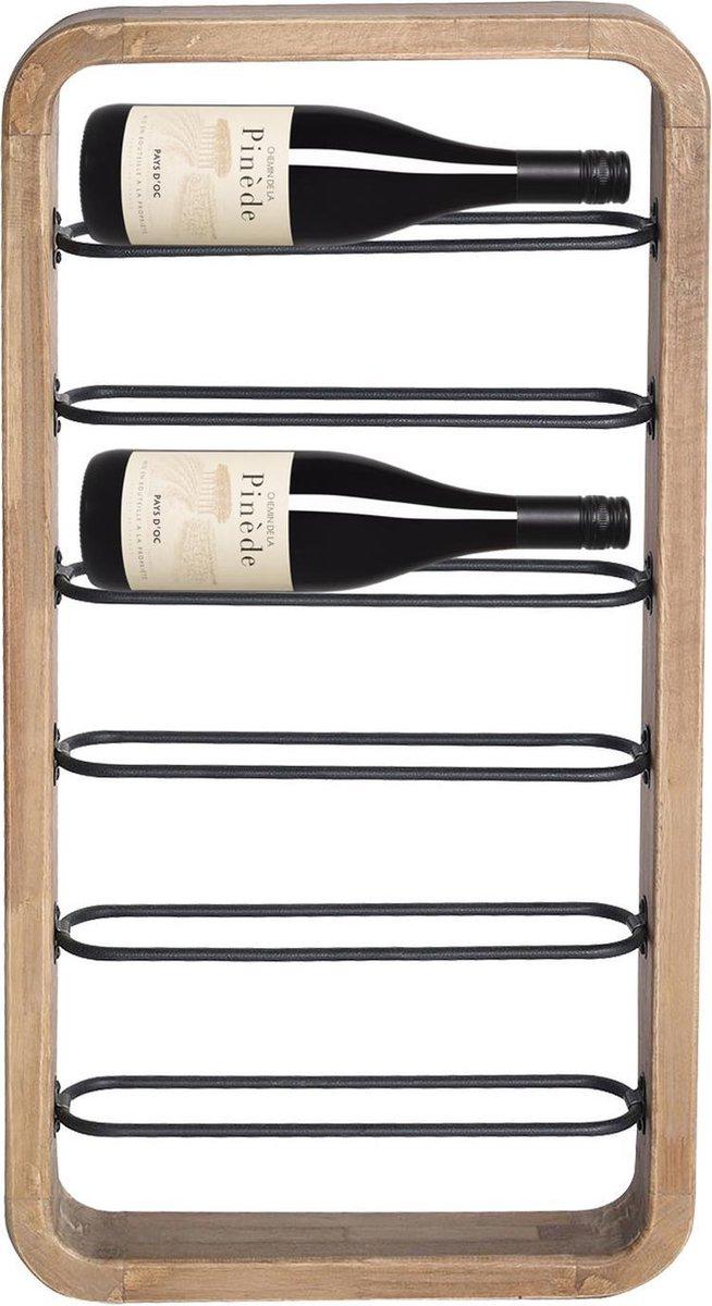 Wijnrek - Wijnrek Metaal - Wijnrek Muur - Wijnrek Hout - Zwart - 80 cm breed