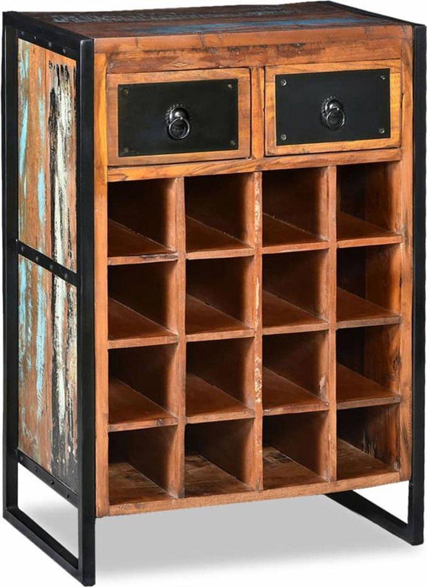 Wijnrek staand voor 16 flessen met 2 lades, stalen frame, massief gerecycled hout